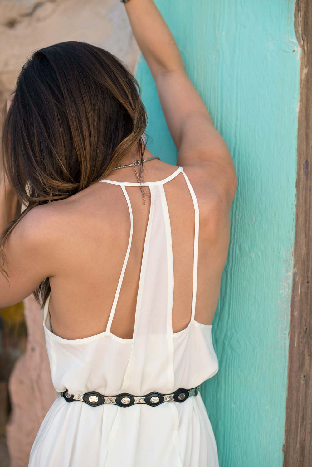 Back cutout details on a maxi dress.