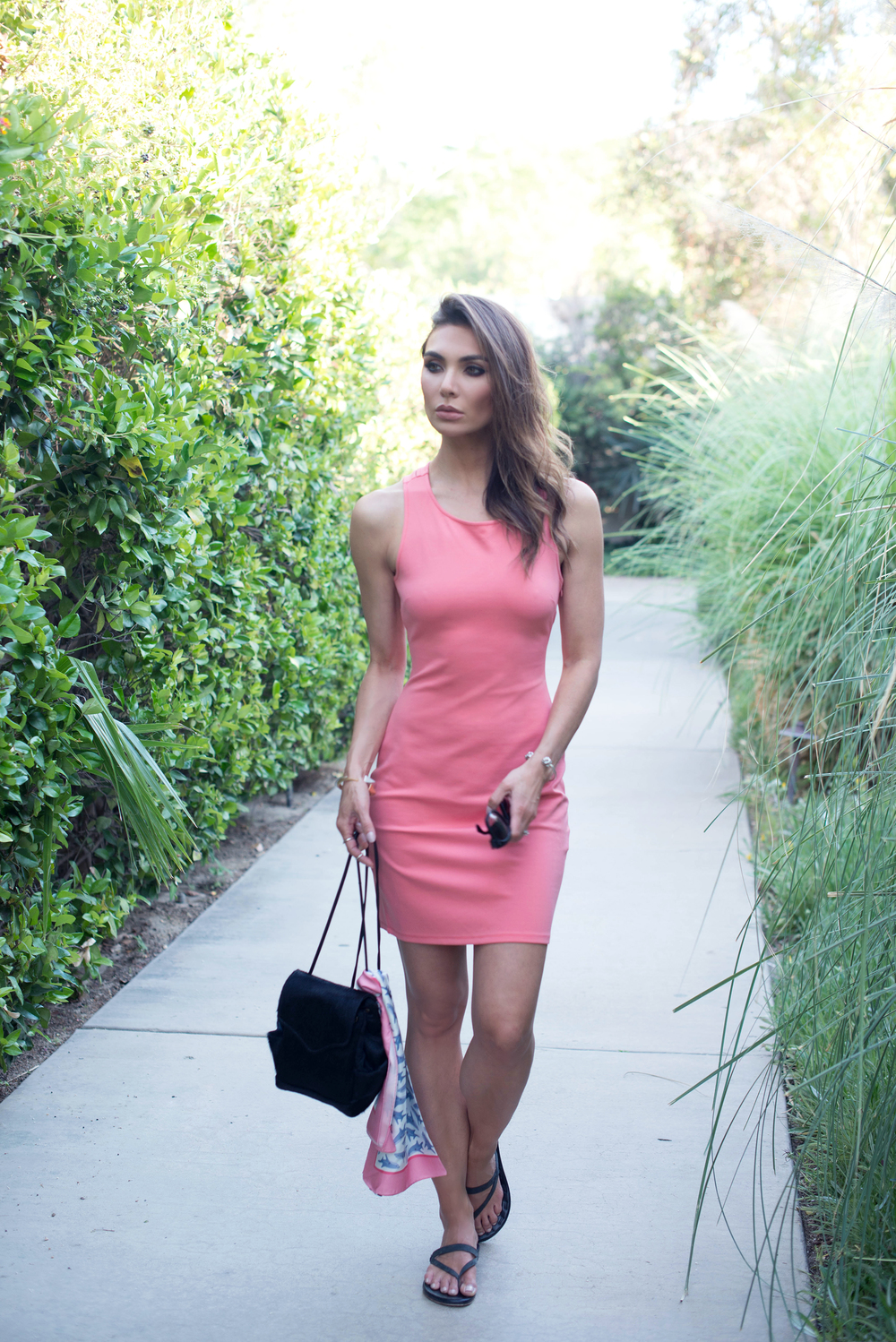 coral mini dress and sandals.