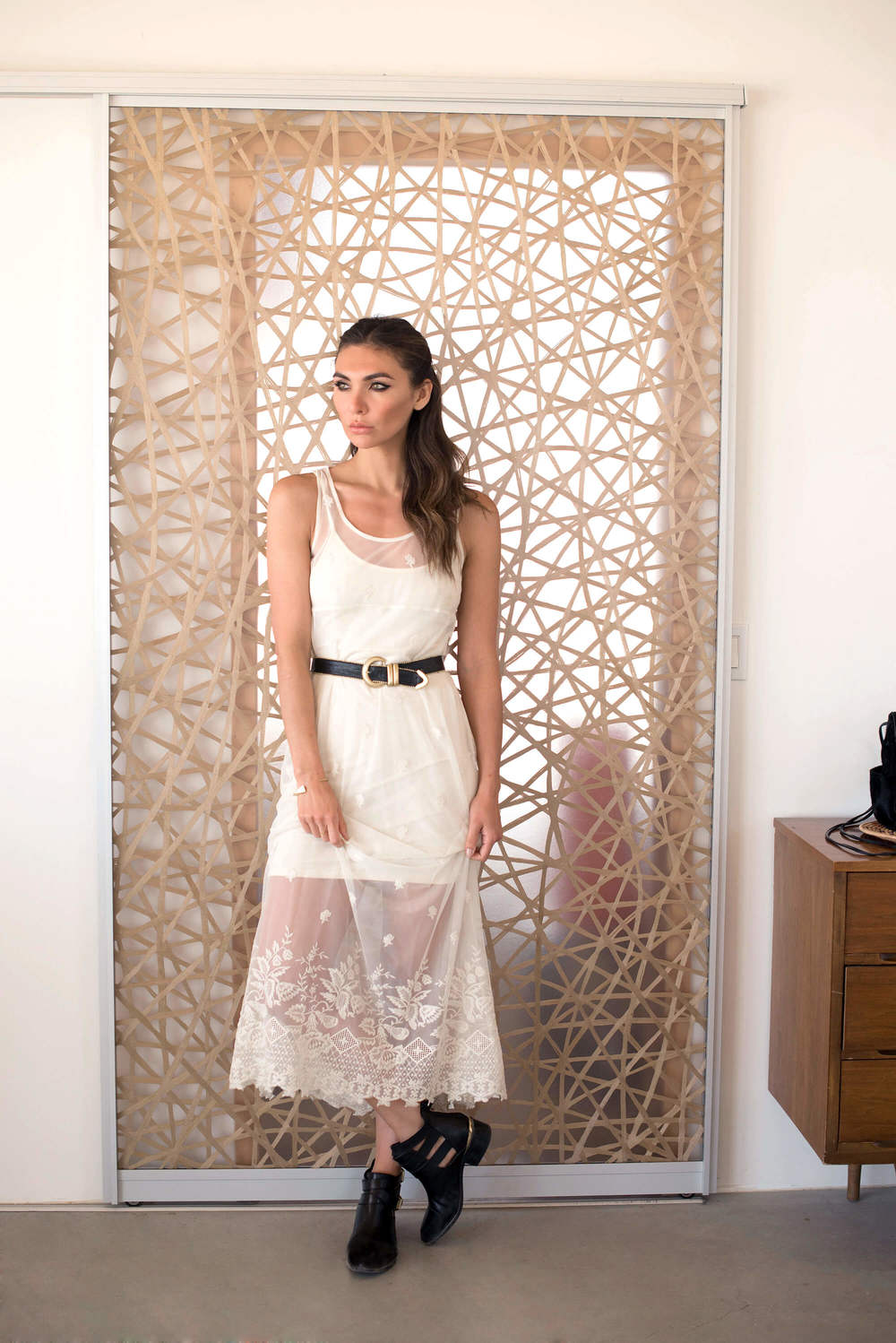 Belted white lace dress