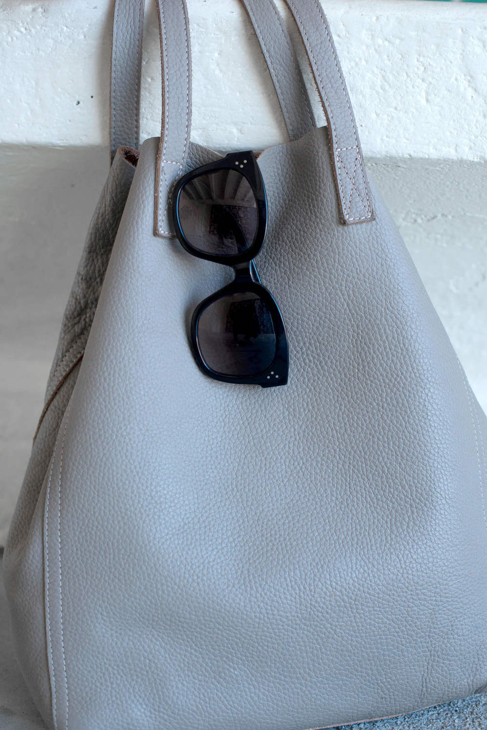 cuyana tote and celine audrey sunglasses