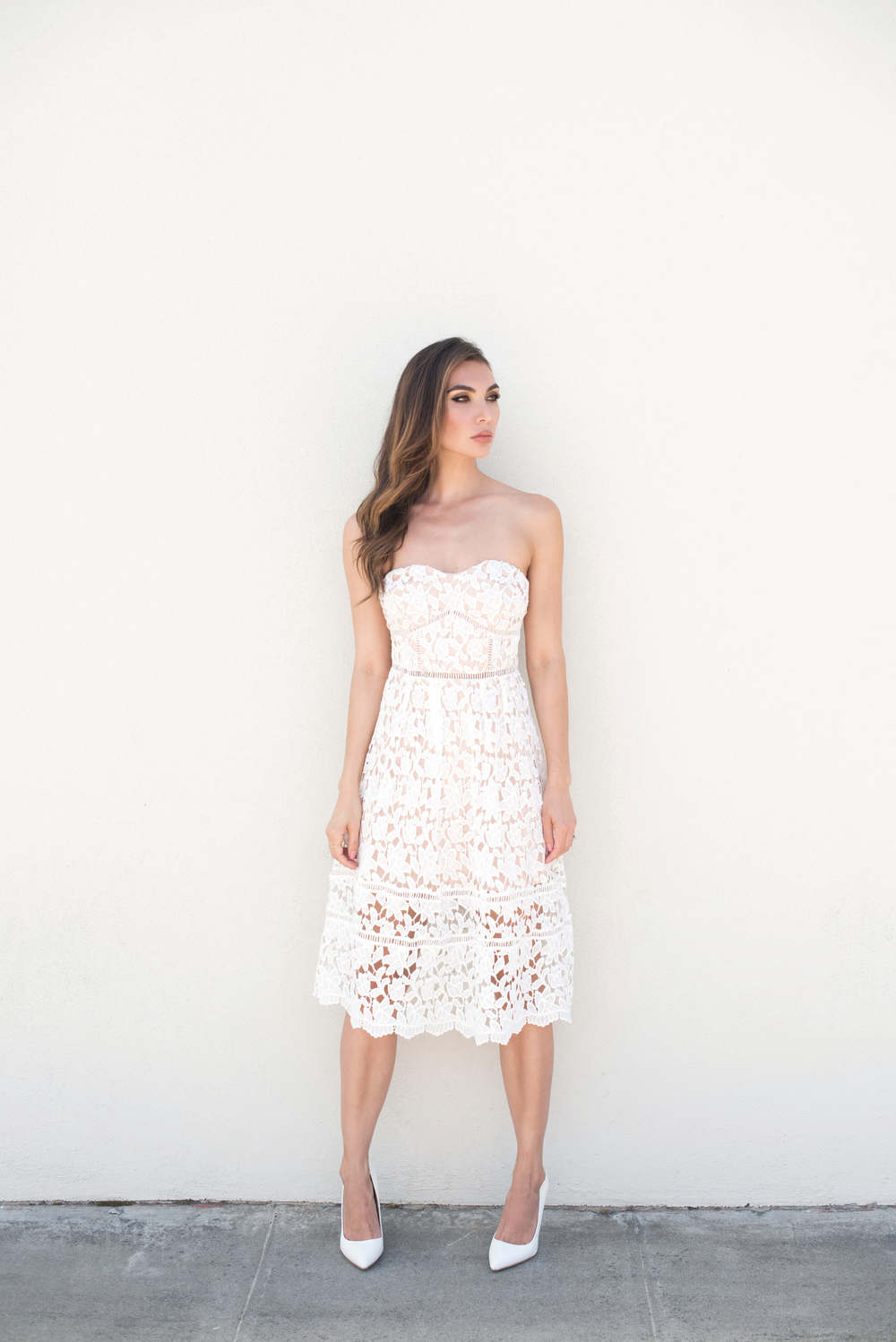 Lulus Pinnacle of Prestige Ivory Lace Midi Dress