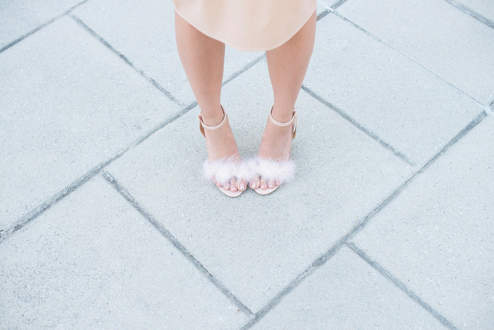 Marabou feather sandals