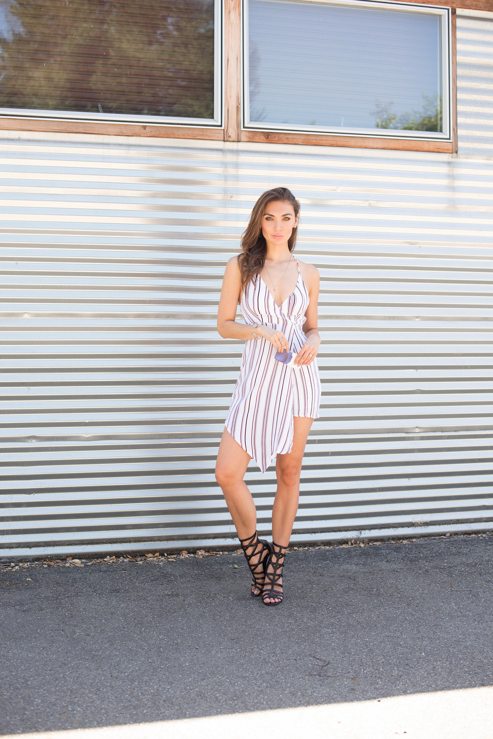 MLM striped asymmetric dress