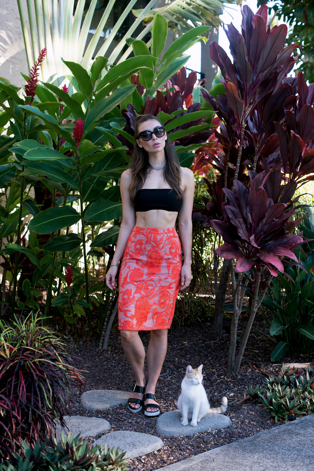 Red Lace Skirt and Black Crop Top with Palm Trees