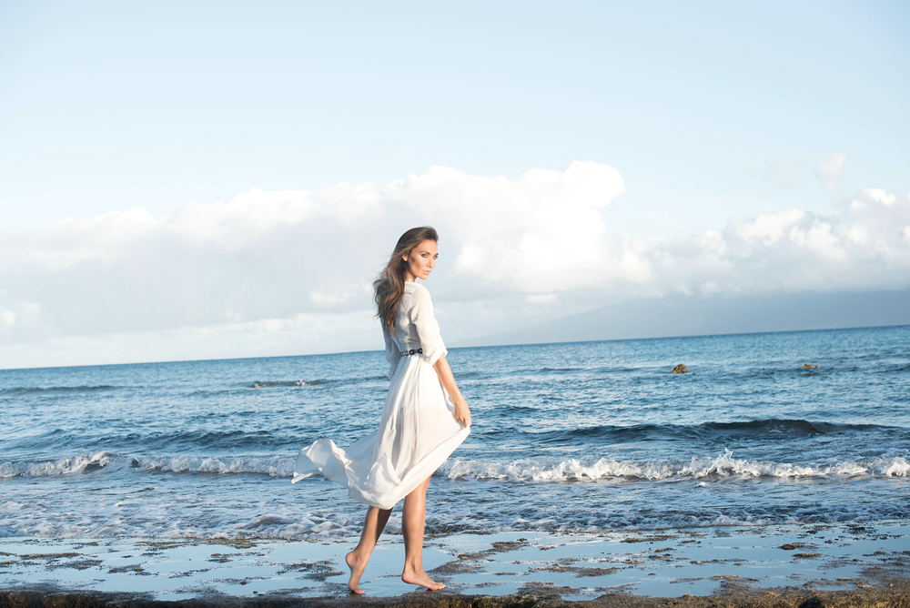 romantic white gown by the ocean