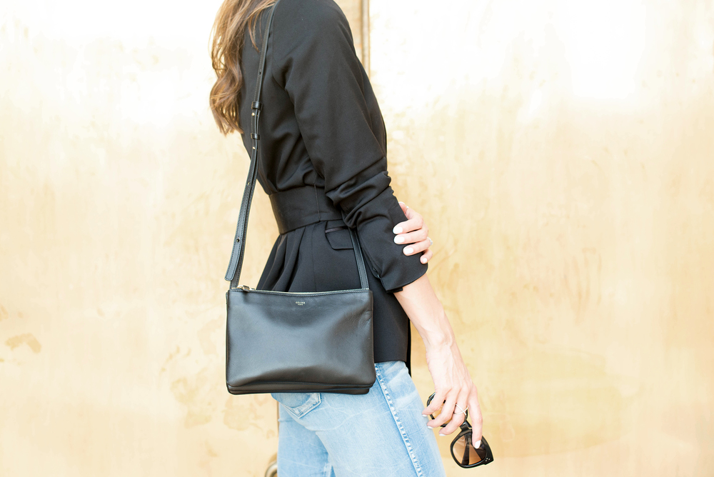 The Kooples Satin blazer and Céline shoulder bag