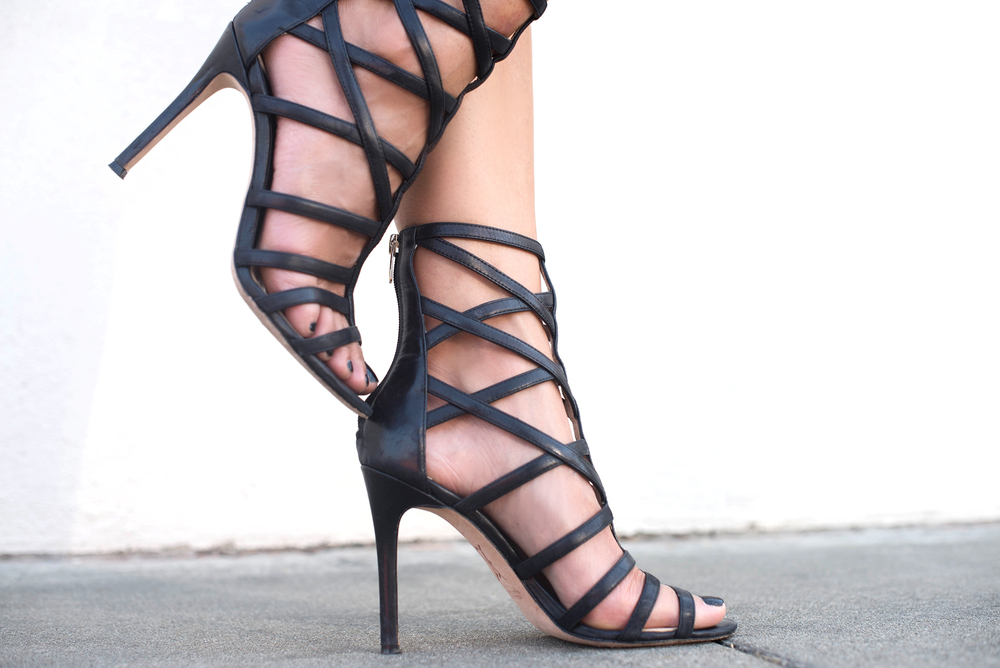 Black Caged Heels