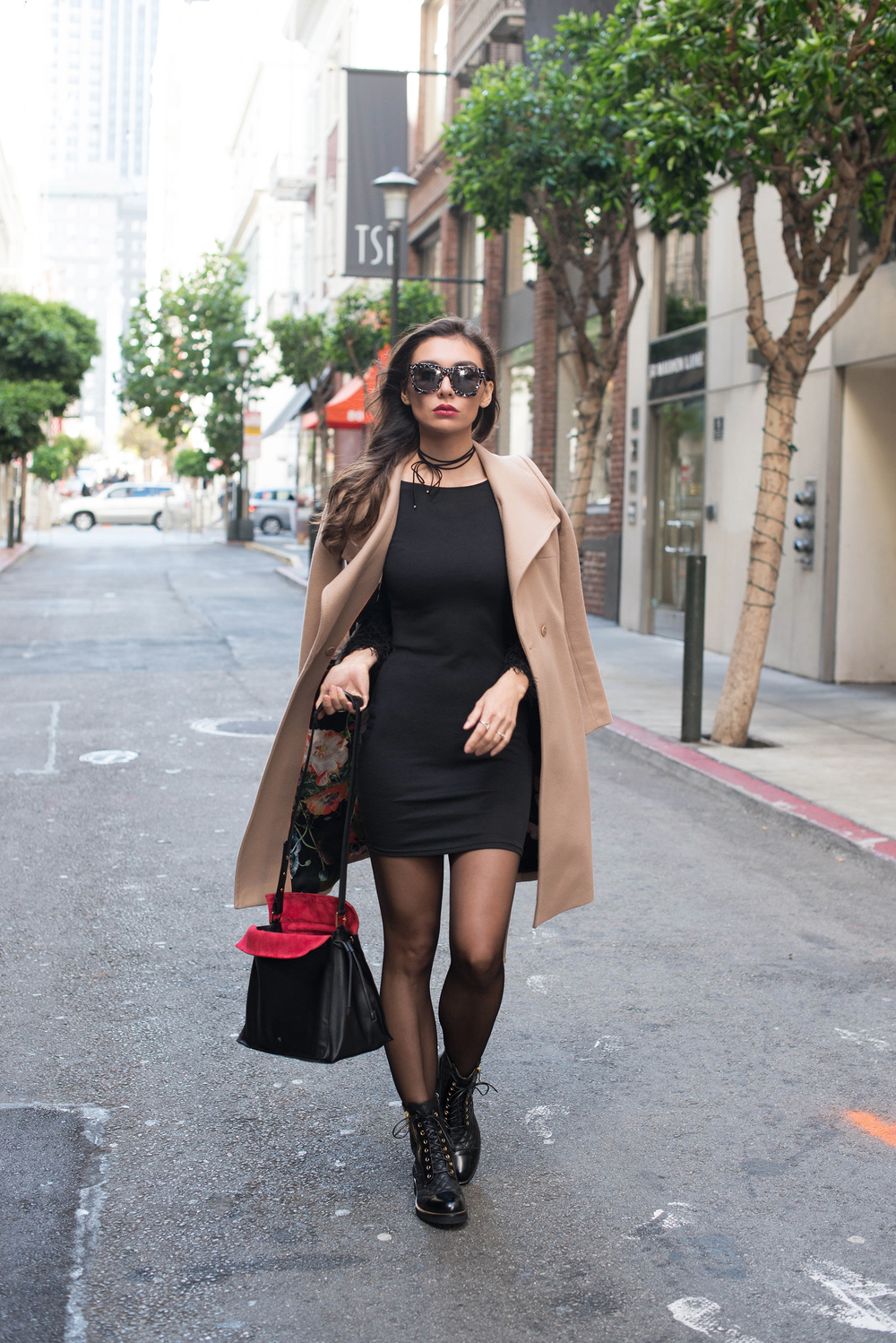 COAT. DRESS. BOOTS. BAG (Smaller Size HERE). SUNGLASSES (PS take 25% now through the 21st with the code ZANERENO) . NECK TIE. TIGHTS