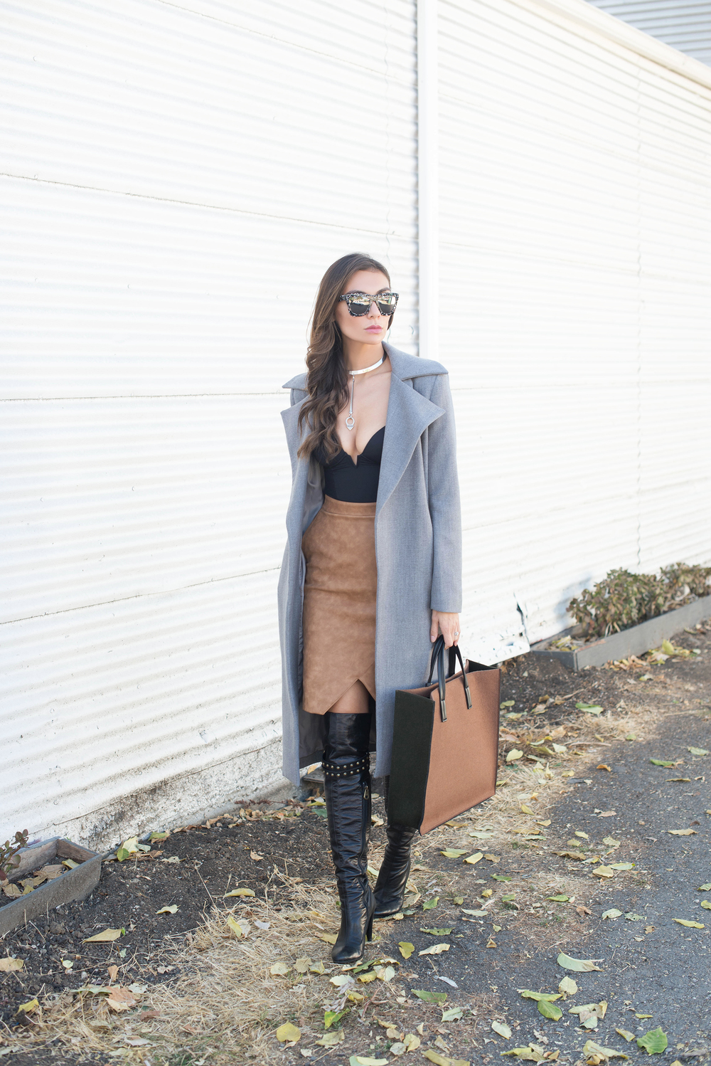 COAT. BODYSUIT. SKIRT. BAG (also here in NAVY and here in GRAY). SHOES (Marc Jacobs, old, similar HERE and HERE). SUNGLASSES. NECKLACE. BRACELET. CONSTELLATION RING. PEARL RING.