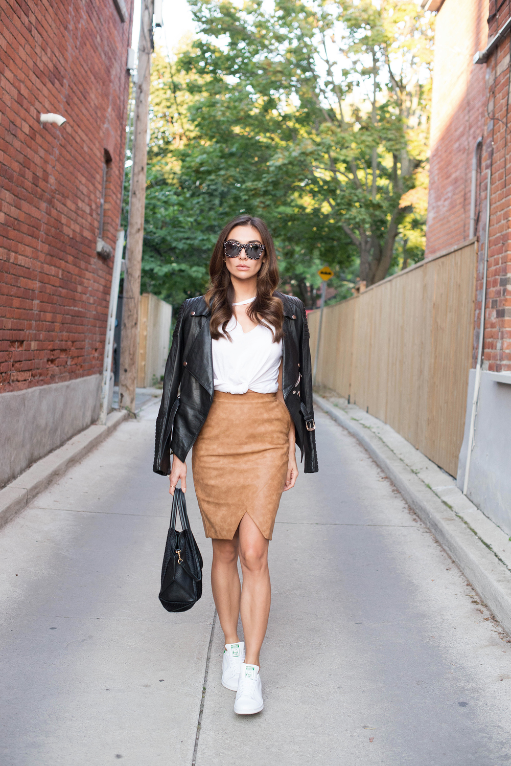 LNA Tank. House of CB Skirt. Stan Smith Shoes. Oliveve Bag. Valley Sunglasses.