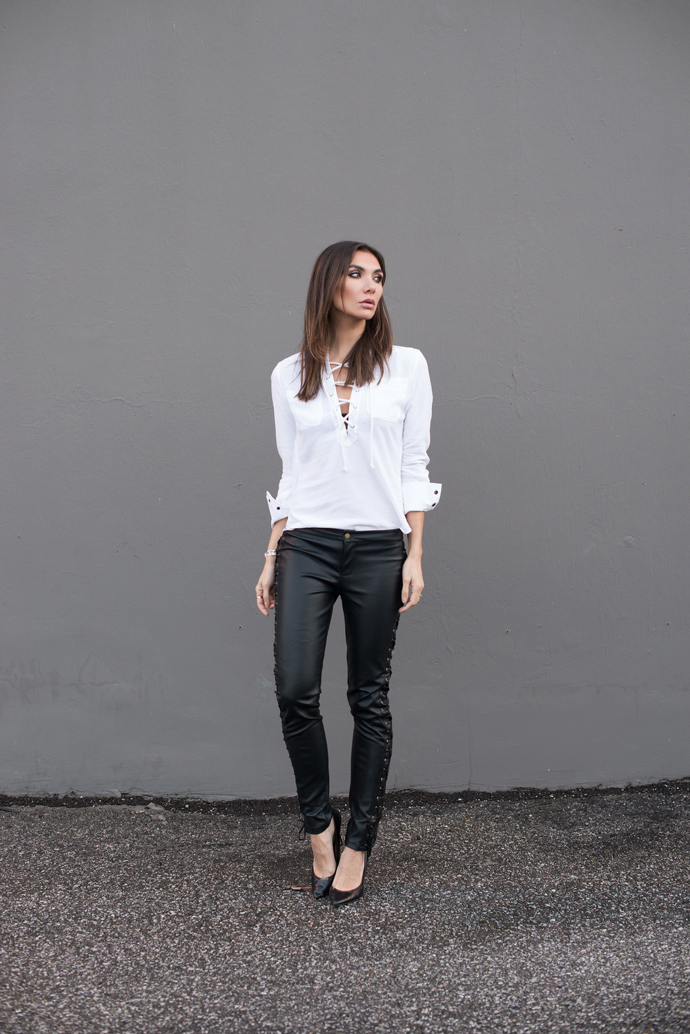 Camixa Shirt. Nightwalker Lace-up Pants (similar HERE)