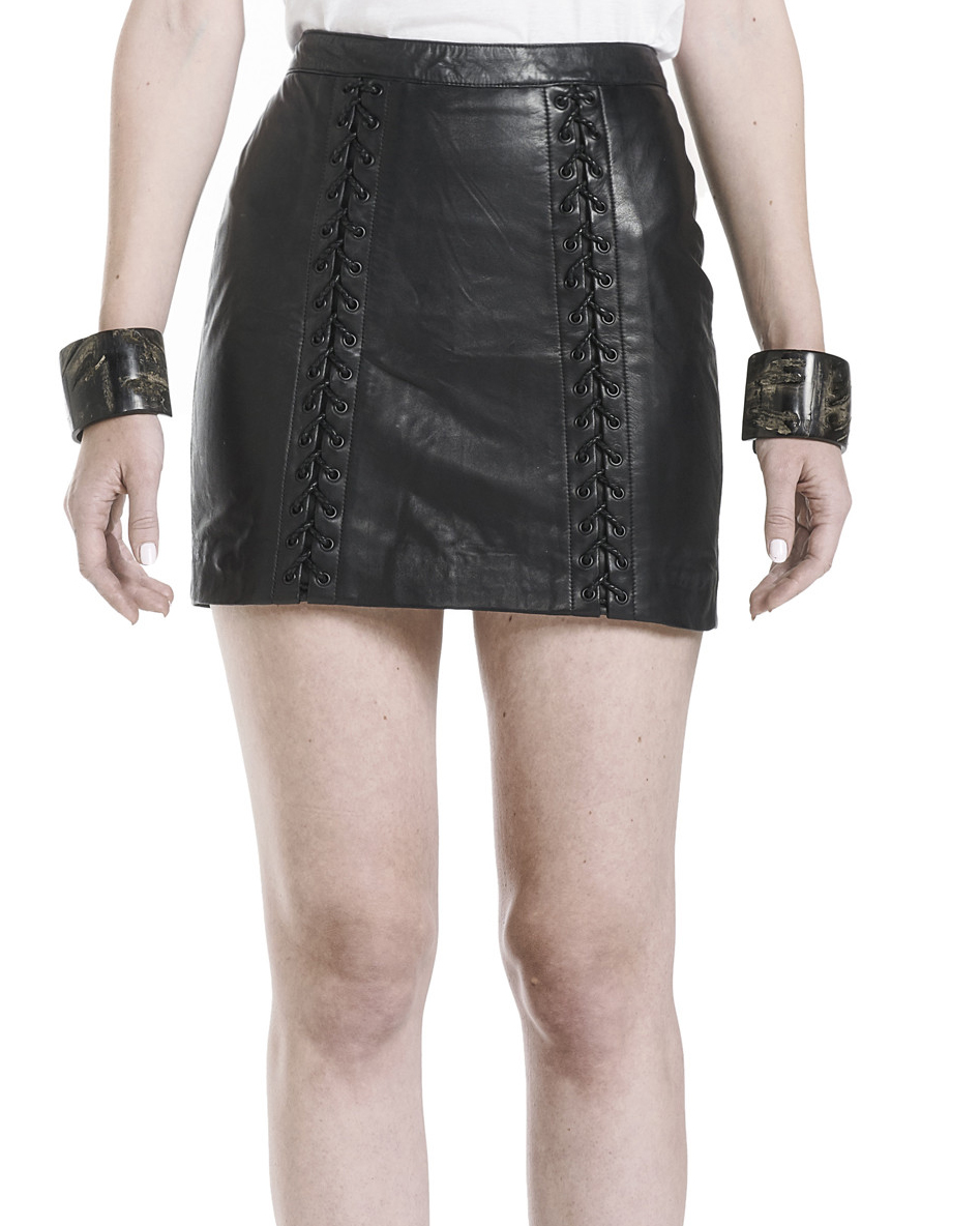 LEATHER LACED SKIRT