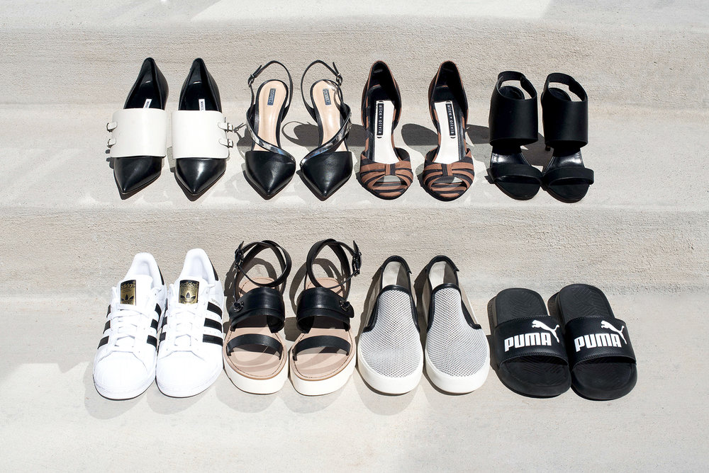 From top to bottom, left to right:   Manolo Blahnik, Schutz, Alice & Olivia, Manolo Blahnik  //  Adidas, Coach, Vince, Puma