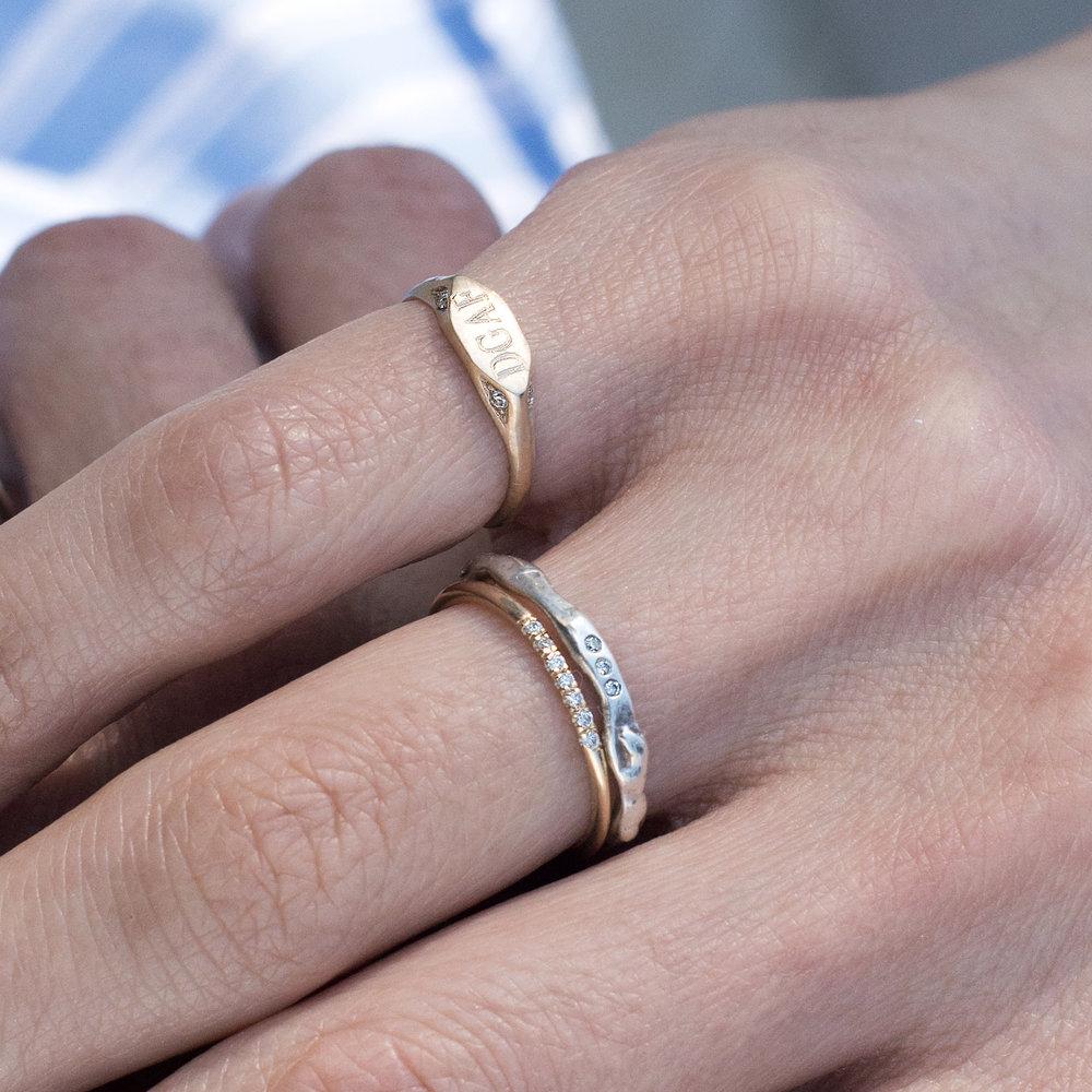/ Vanessa Lianne DGAF Signet Ring / Vanessa Lianne Kate Ring / Stacy Nolan 7 Stone Ring/