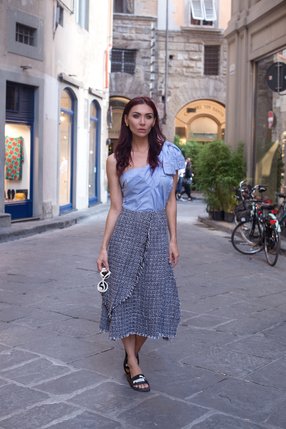 / SHIRT (MLM The Label, old, tied as a one-shoulder. Also love   this one   and   this one  ) /   SKIRT   / SHOES (Puma, similar   HERE   and   HERE  ) /   EARRINGS   /
