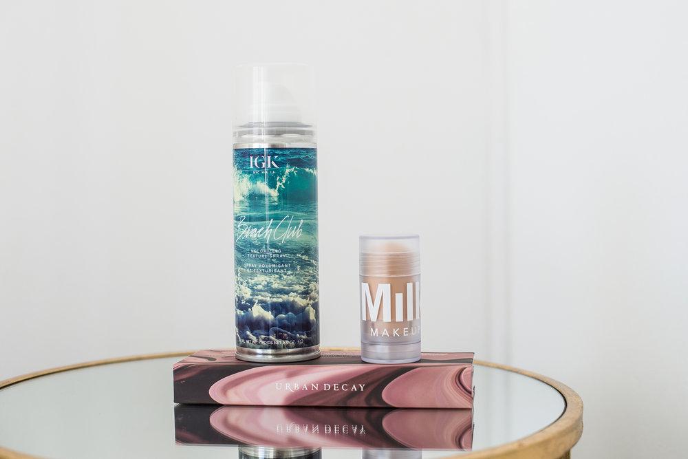/   IGK Beach Club Texture Spray   /   Milk Makeup Blur Stick   /   Urban Decay Backtalk Eye and Face Palette   /