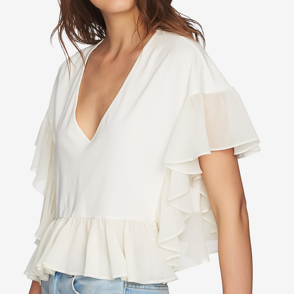 Ruffled Contrast V-neck Top