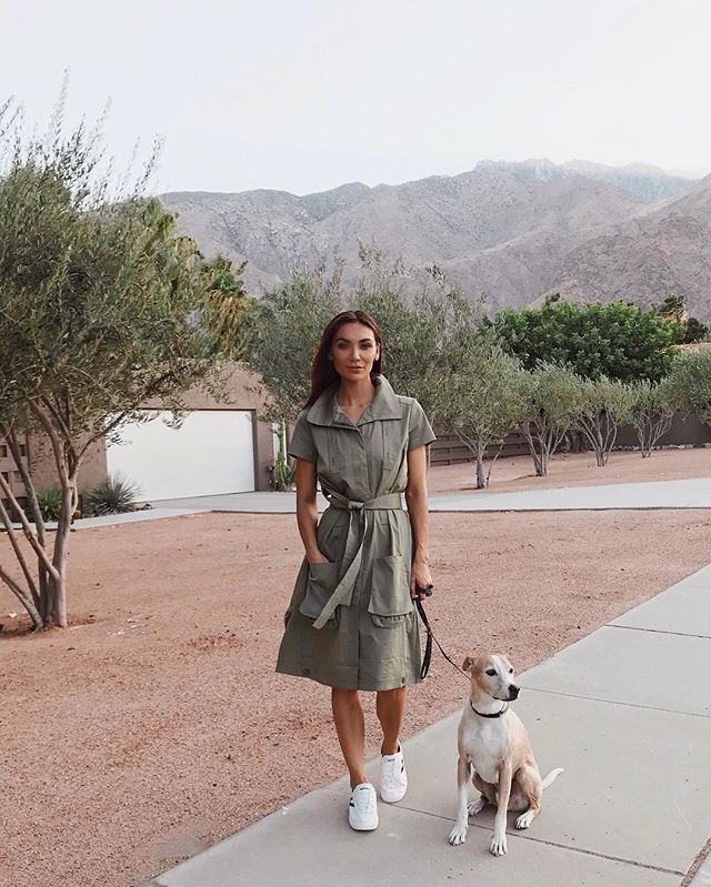 Bucky's first official walk in #PalmSprings! Not pictured: the world's largest poop bag that I carried like a clutch for 5 blocks. 😆 trench is by @allbases.co via @forbloggersonly 🍦 #visitgps #psiloveyou #palmspringslife