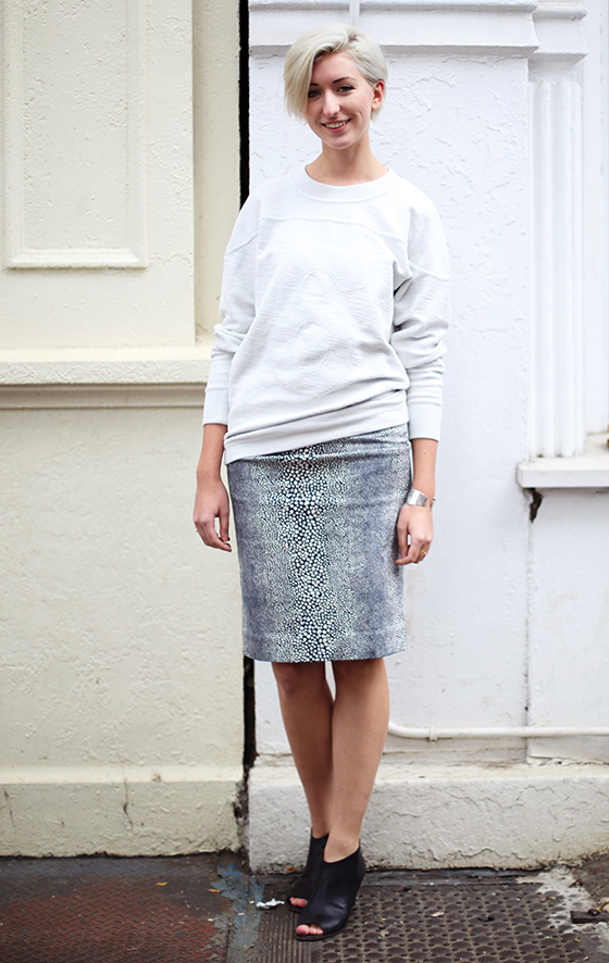Pair it with a textured pencil skirt and comfy heels. Toss on a cuff if you're feeling wild. (Photo of Emma)
