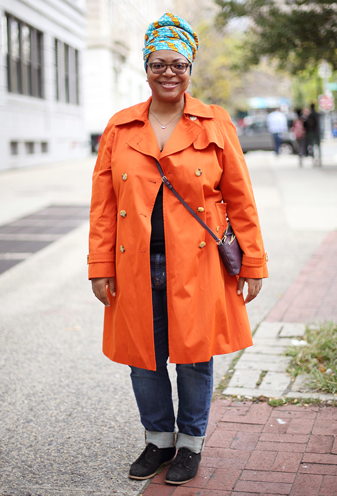 Go BOLD. That means orange. And really own it. (Photo of Freda)
