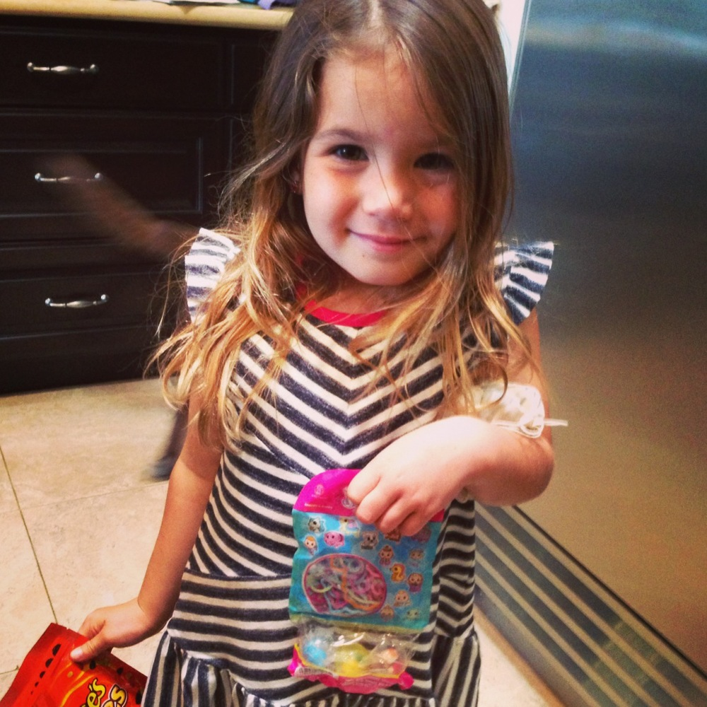 My youngest sister, Addison, with some of the goodies I sent her for Valentines.