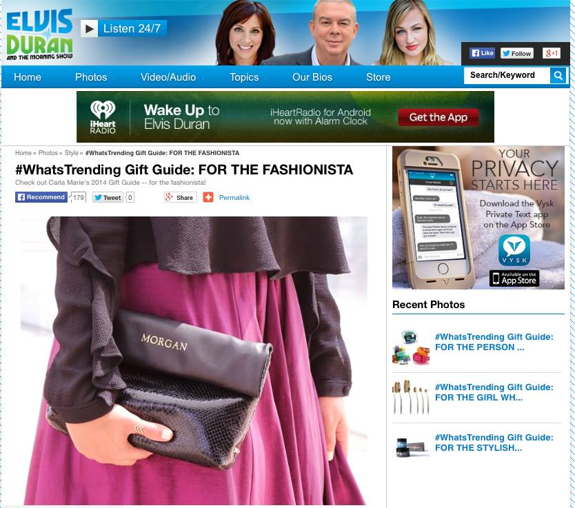 "Featured on the  Elvis Duran Z100  Morning Show ""#WhatsTrending Gift Guide: FOR THE FASHIONISTA"""