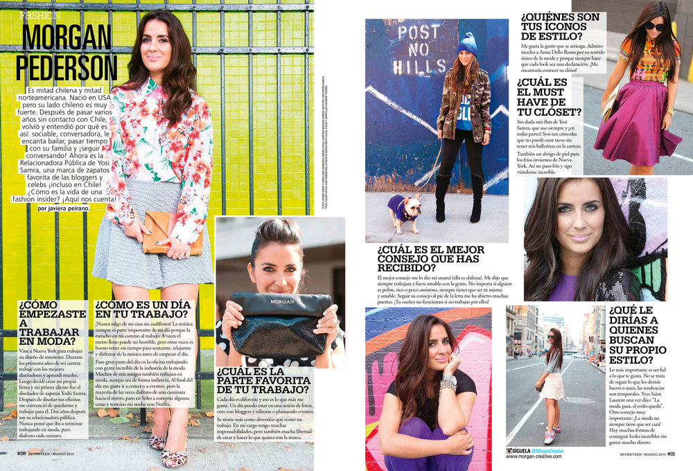 Featured in the March 2015 issue of Seventeen Magazine Chile