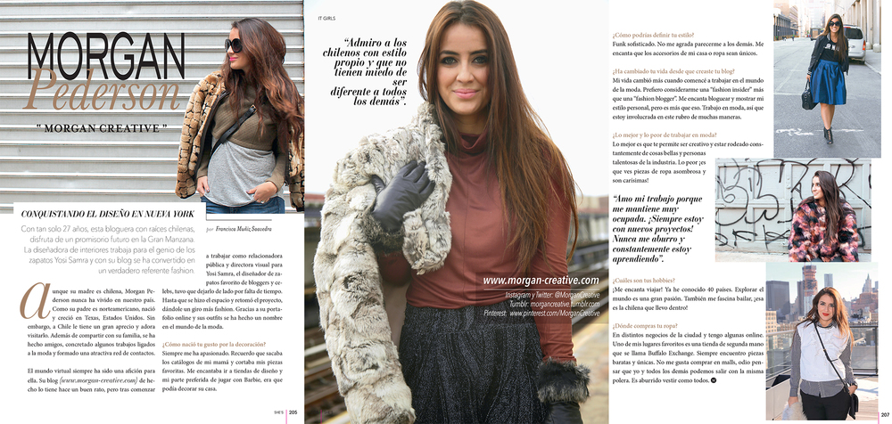 "Featured in the April 2015 issue of ""Revista SHEs"" Magazine in Chile"