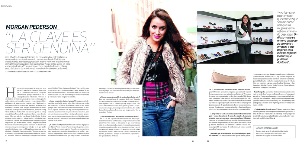 "Featured in the April, 26th 2015 issue of ""Revista MUJER"" Magazine in Chile / read here:     http://bit.ly/1zq4Nju"