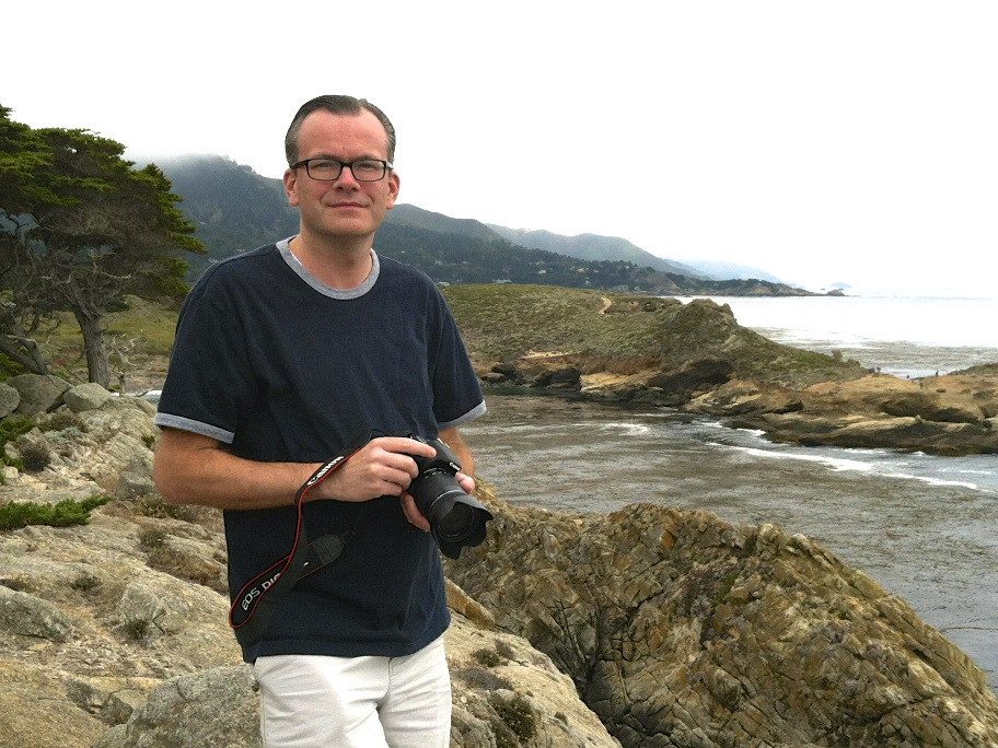 Michael Seeley (me), about to take a photo of stuff.  This is Monterey, CA in July, 2012.