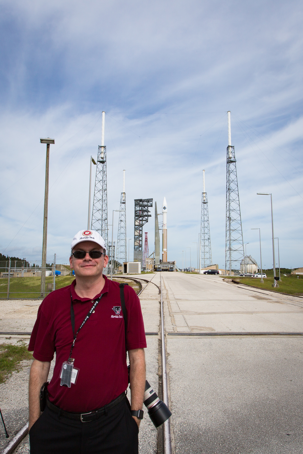 Michael Seeley (me, again) with an AtlasV rocket (and stuff) behind me. That's the OA-4 rocket, to be launched by United Launch Alliance a few days after this picture was taken.