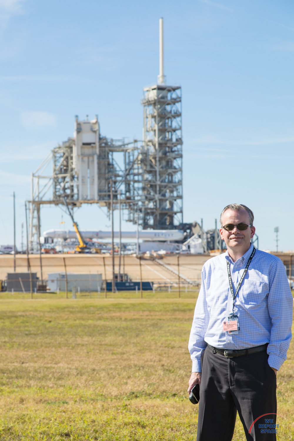 Me at Launch Complex 39A with the CRS10 Falcon9 horizontal behind me. (Photo by Val Phillips)