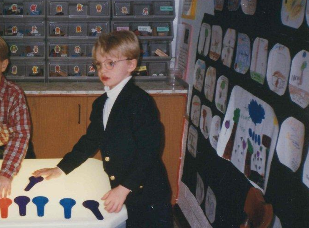 Reviewing comps while doing swatch explorations back in the glory days before computers took over advertising. Miller Kindergarten, 1995.