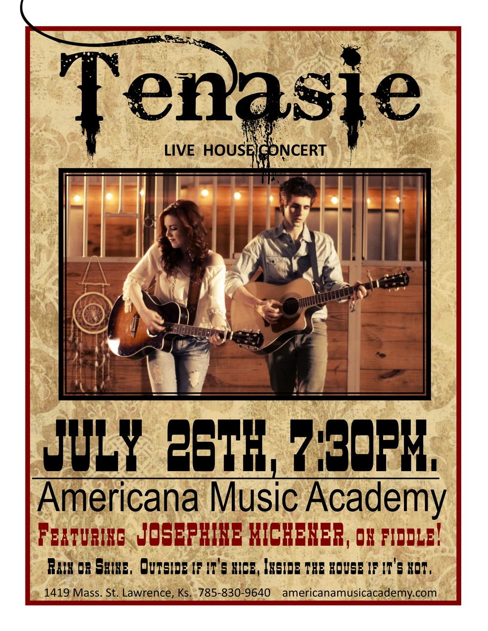 Join us for a new twist on country music with Tenasie, featuring Josephine Michener on Fiddle!  Our old friend Josephine is returning to Lawrence with her current band, so please support live music by coming to hear watch she's up to along with her band Tenasie.