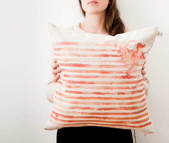 toucheefeelee1 Striped Watercolor Pillow Cover