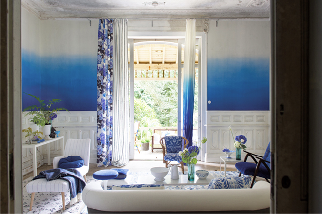 Rockett St George Cobalt Blue Saraille Wallpaper