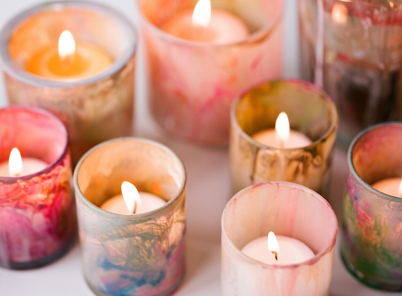 Once Wed DIY Painted Votives
