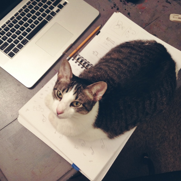 """No sketchbook for you!"" - Studio cat Benji likes to take my sketchbook hostage."