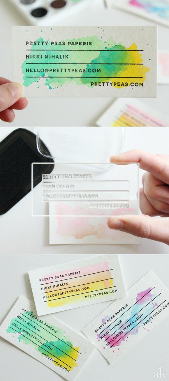 DIY Stamped Watercolor Business Cards via akula kreative