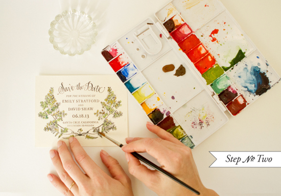 Botanical Watercolor Save the Date Cards via Oh So Beautiful Paper