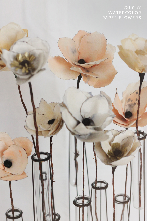 DIY Watercolor Paper Flowers via Kelli Murray