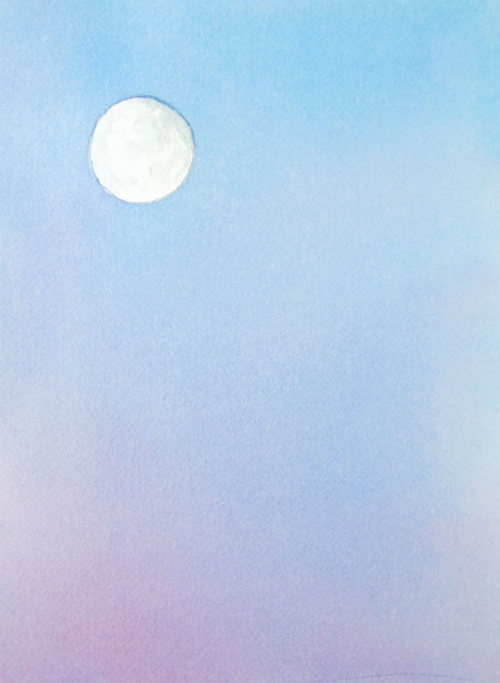 """Moon Rising"" original watercolor by Artist Lydia Makepeace"