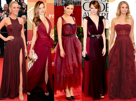 Red Carpet Marsala Fashion via EOnline