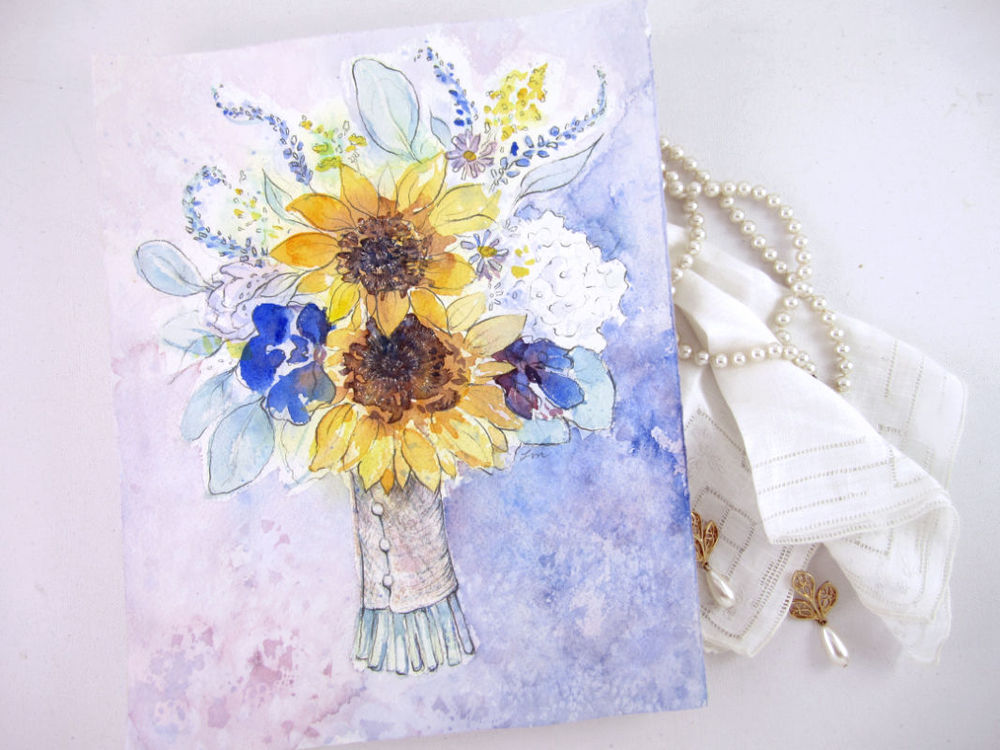 Custom Wedding Bouquet Painting by Lydia Makepeace