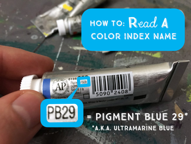 A Color Index Name is a unique alphanumeric code assigned to each pigment used in art supplies. With a C.I. Name you can be sure you're getting the same paint color no matter which brand you use. | LydiaMakepeace.com