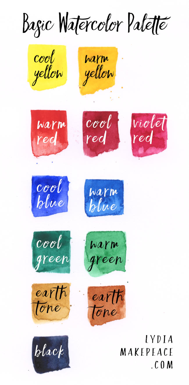 Basic watercolor palette 12 essential colors lydia makepeace geenschuldenfo Image collections