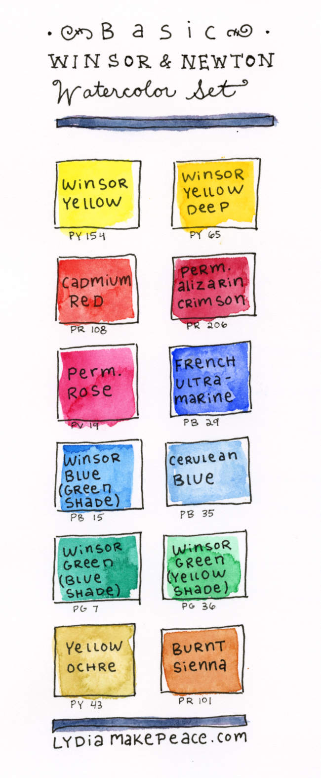 basic watercolor palette 12 essential colors lydia makepeace