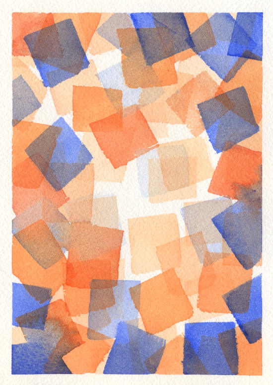 Original Cubist Watercolor Painting by Lydia Makepeace