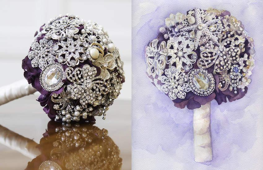 Purple Brooch Bouquet | Custom Watercolor Portrait by Lydia Makepeace