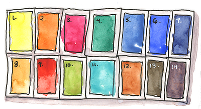 14 color watercolor Palette Illustration with Color Swatches